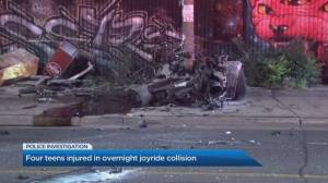 Crash in Toronto sends 4 minors to hospital, including a 13-year-old driver (01:44)