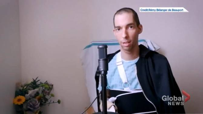 Click to play video: Musician injured in Quebec City sword attack speaks out from hospital