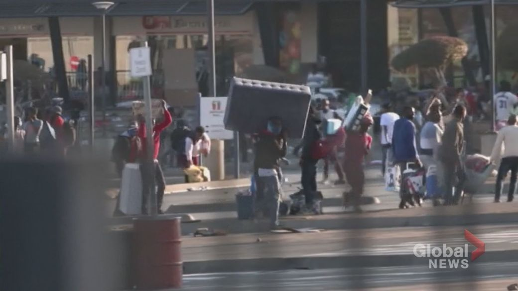 Click to play video: 'Dozens dead as unrest continues in South Africa following jailing of former president'