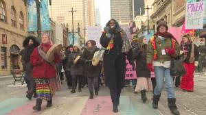 Calgarians march in solidarity for women's rights