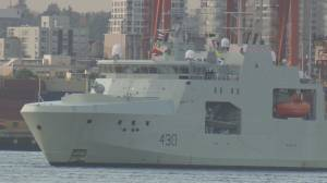 Canadian military's newest ship arrives in North Vancouver (01:57)