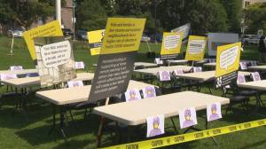 Coronavirus: Parents create mock classroom to protest Ontario's back-to-school plan