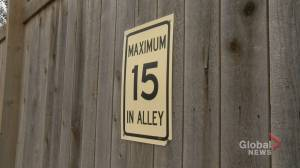 Calgary neighbourhood fed up with drivers speeding down alleyway