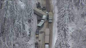 Dozens injured, one person dead in multi-vehicle pile-up on the Coquihalla (02:01)