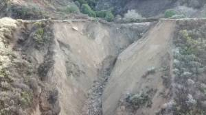 Drone footage captures part of iconic California highway washed away by heavy rains (01:30)