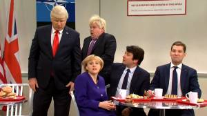 SNL cold open parodies relationships among major world leaders in 'NATO cafeteria'