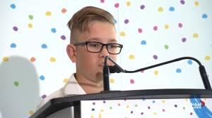 Blake Wheeler shares his story at Jim Pattison Children's Hospital grand opening