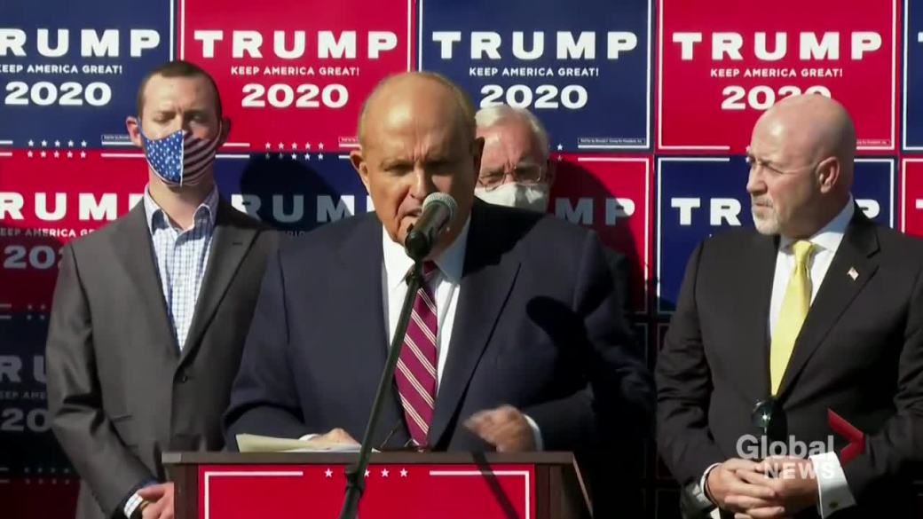 Click to play video 'U.S. election: Trump's lawyer Giuliani alleges voter fraud in number of states'