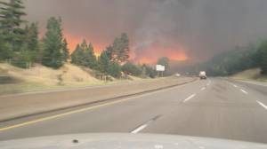 'That's unbelievable': Coquihalla drivers shocked by size of wildfire shortly before highway closure (00:56)