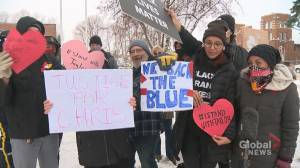 Tensions flare outside Red Deer court after anti-racism advocate's appearance (01:59)