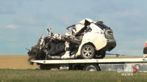 Three people dead after crash north of Legal, Alberta (01:50)