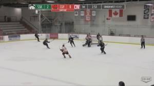 Saskatchewan Huskies goalie scores