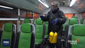 Buses, trains sprayed with disinfectant as multiple COVID-19 cases reported in Iran