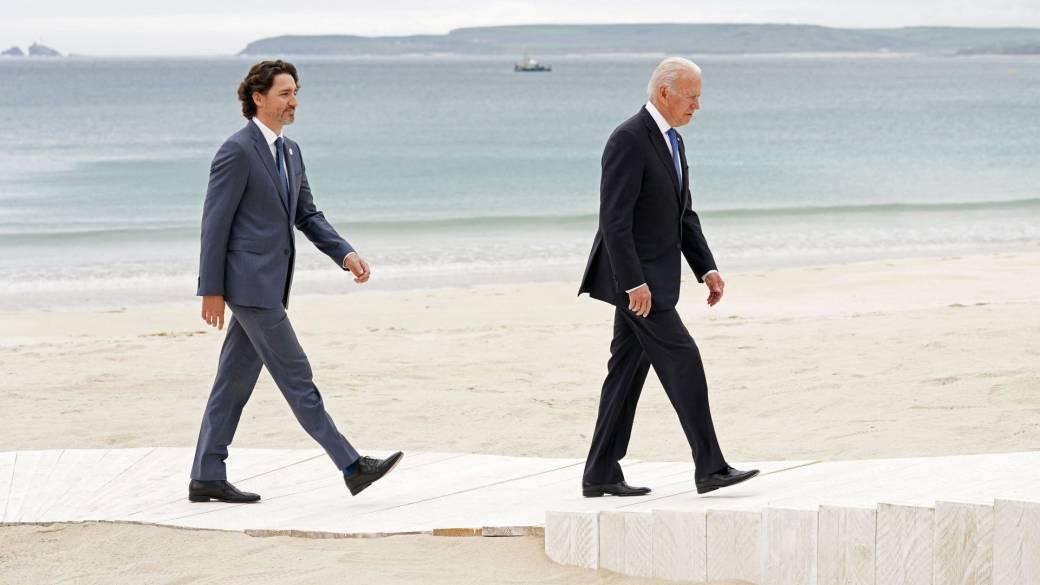 Click to play video: 'Biden stars at G7 summit, Trudeau talks detained Cdns in China'
