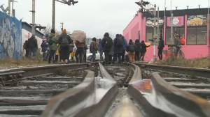 Protesters set up blockade on East Vancouver CN rail line