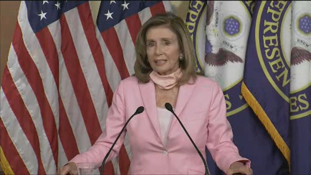 Click to play video 'Pelosi says ignore Trump comments on elections, says it's to 'suppress the vote''