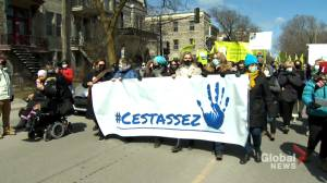 Quebecers denounce violence against women (01:58)