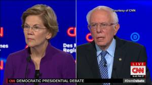 Warren addresses Sanders' comment, says female candidates only ones 'on this stage' to win all elections that they've been in (02:27)