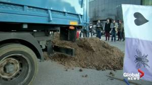 Protesters dump manure outside COP25 climate summit in Madrid