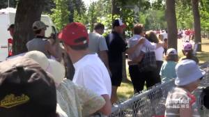 Alberta health minister and family confronted by demonstrators at Canada Day celebration (02:16)