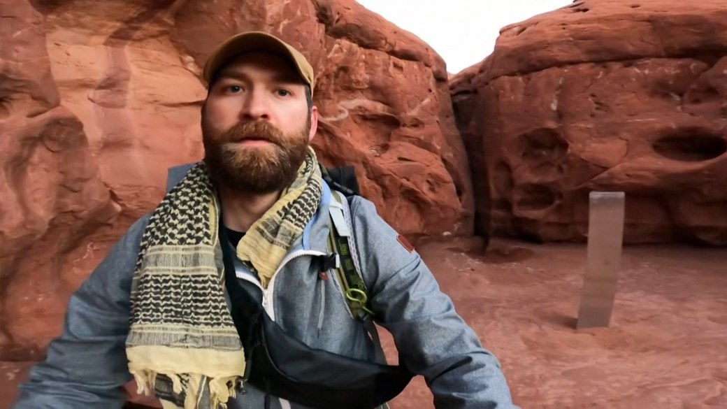 Click to play video 'Utah monolith: Amateur adventurer tracks down actual location of mystery object'
