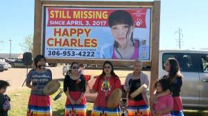 Billboard of missing woman Happy Charles unveiled in Prince Albert, Sask.