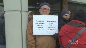 Protestors in Sussex gathered outside of hospital against health care changes