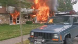 Family escapes massive house fire in Surrey