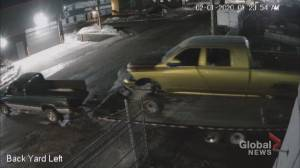 Calgary police release CCTV of distinctive gold truck theft (00:37)