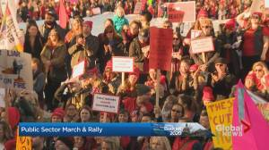 Public sector supporters rally at Alberta legislature on budget day