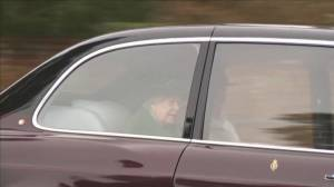 Queen Elizabeth leaves church after attending service as Prince Philip remains in hospital