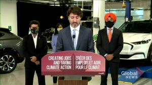 Trudeau announces $1.8 billion in funding for Ford Motors electric vehicle overhaul (00:48)