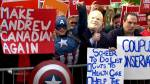Leaders' Debate: 'Captain America' and 'Doug Ford' among those gathered outside debate site