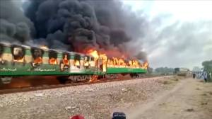 At least 65 killed, 40 injured in Pakistan train fire