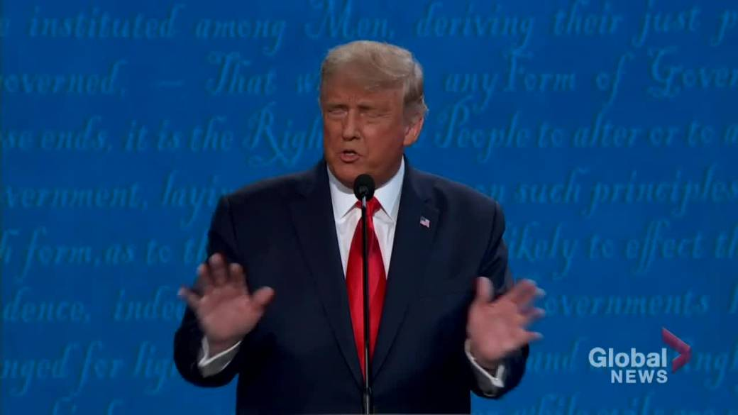 Click to play video 'Presidential debate: 'We can't lock ourselves up in a basement like Joe does,' says Trump on coronavirus lockdowns'