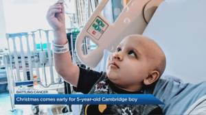 Christmas comes early for 5-year-old Cambridge boy battling cancer (02:27)