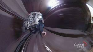 TTC investigating video of person 'train surfing' on subway car (03:00)