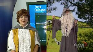 Mike Sobel and Daintre Christensen don 'Lord of the Rings' costumes for Halloween on Global Edmonton (07:05)
