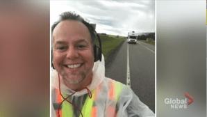 Albertan walking from Lethbridge to Edmonton to raise money for lung disease (05:58)