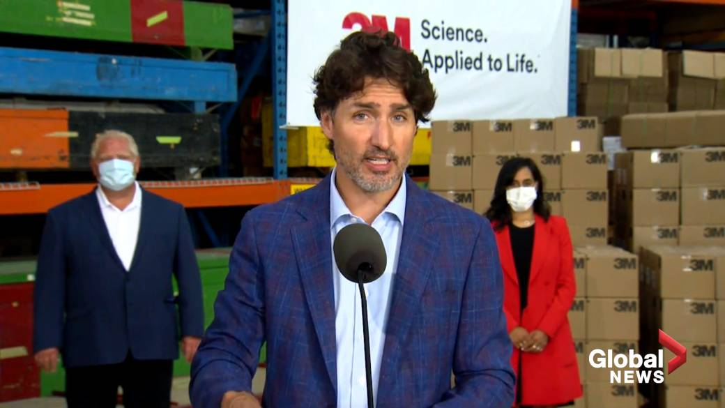 Click to play video 'Coronavirus: Trudeau lauds deal with 3M, Ontario government to produce PPE domestically'
