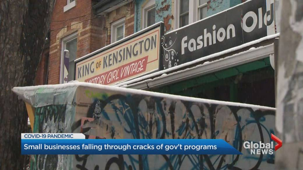 Click to play video 'Coronavirus: Small businesses falling through cracks for government aid'