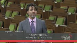 Trudeau defends his government's COVID-19 vaccine rollout following comparison to U.S. (01:15)