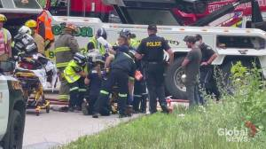 Cement mixer truck driver airlifted following crash in Northumberland County (01:30)
