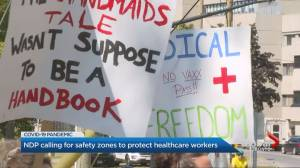 Ontario NDP calling for COVID-19 safety zone legislation to protect people at health-care facilities, small businesses (01:56)