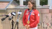 Play video: Canadian Olympic gold medalist Maude Charron returns home to Quebec