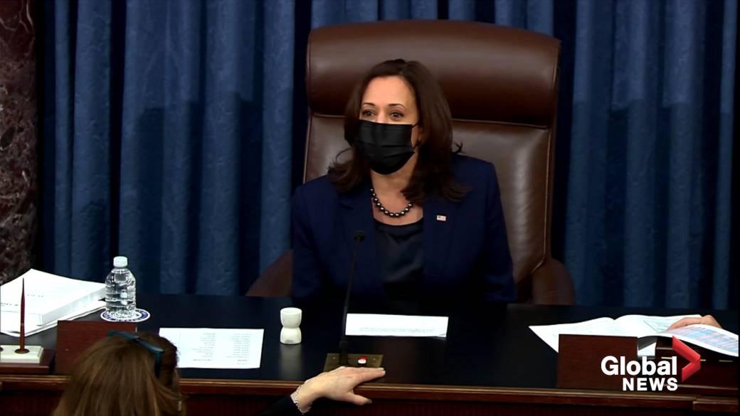 Click to play video 'Harris breaks tie to begin debate on $1.9 trillion COVID-19 stimulus bill'