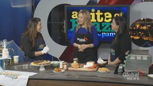 Making cheese bread in the Global Edmonton Kitchen with A Bite of Brazil