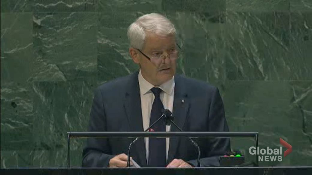 Click to play video: 'UNGA 2021: Garneau thanks allies after 2 Michaels released from Chinese prison, returned to Canada'