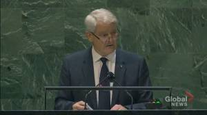 UNGA 2021: Garneau thanks allies after 2 Michaels released from Chinese prison, returned to Canada (01:44)