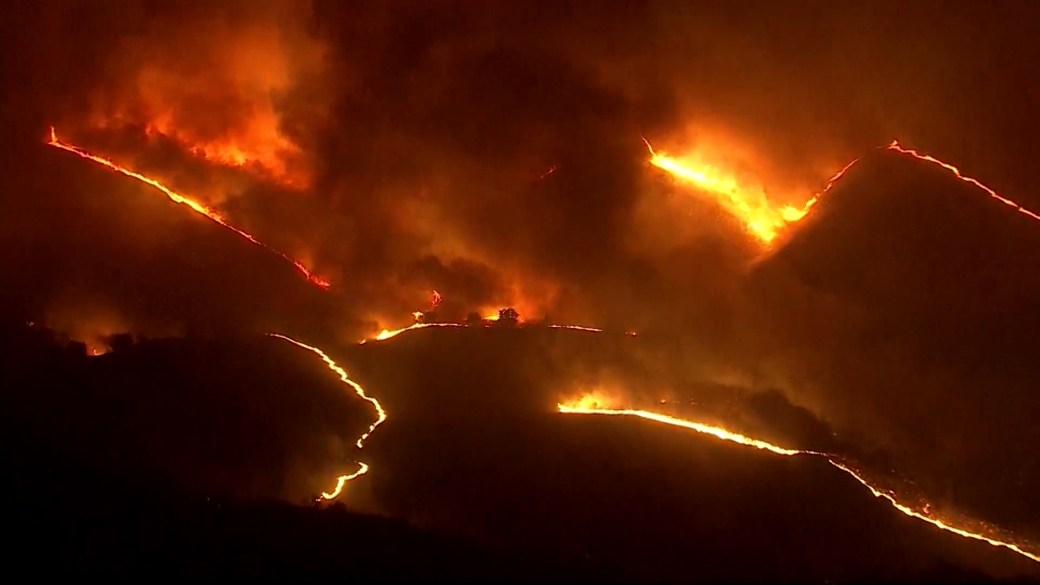Click to play video 'California wildfires force tens of thousands from homes, critically injure at least 2 firefighters'